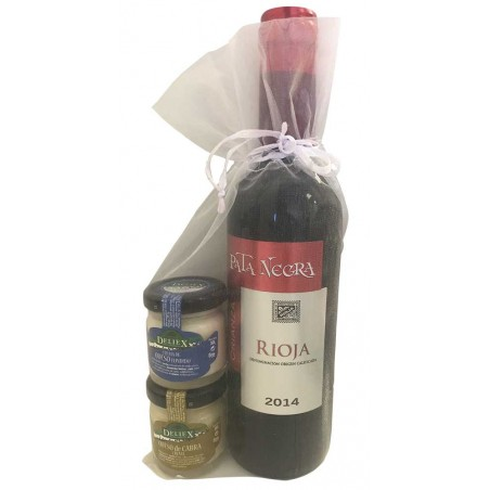 Pack wine Pata Negra Crianza and jars of cheese for events