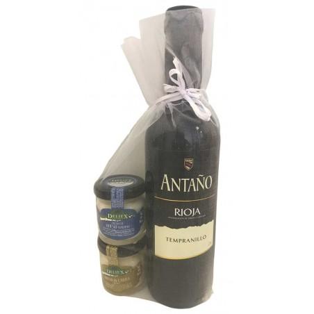 Pack cadeau vin Rioja Antaño Cosecha et fromages Deliex mini pour événement