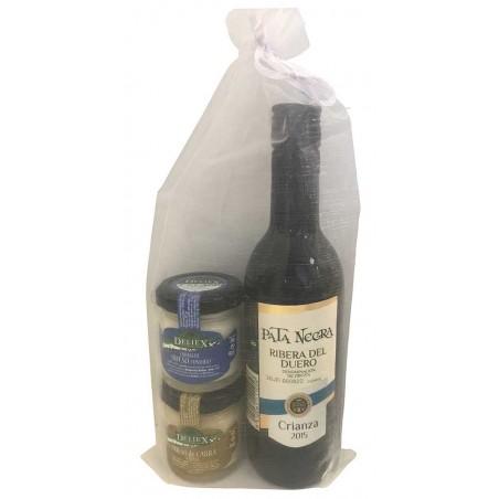 Pack cadeau vin Pata Negra Ribera del Duero et fromages Deliex mini