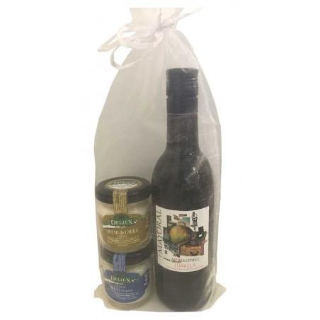 Pack gourmet con vino mayoral y cremas de quesos gourmet