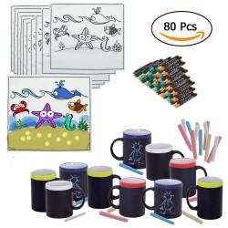 20 Tazas de Pizarra y Tizas y 20 Manteles con ceras regalos niños cumpleaños