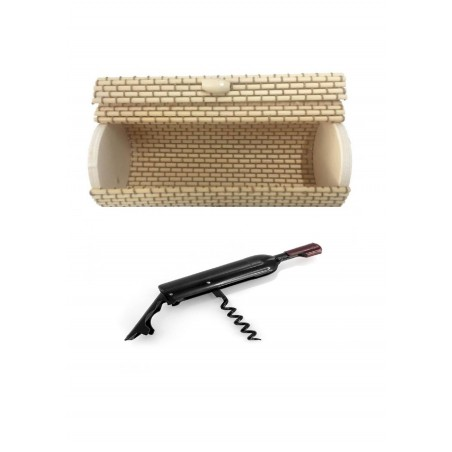 Original corkscrew in wicker trunk for gifts