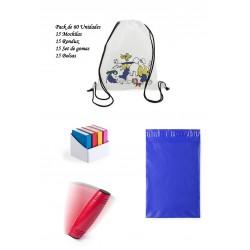 Pack regalos cumpleaños infantiles Mochilas para colorear + Juegos Rondux + Set gomas de borrar+ Bolsas