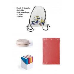 Pack divertido y económico para regalar en cumpleaños infantiles Mochilas infantiles + yoyos + Gomas forma libro + bolsas