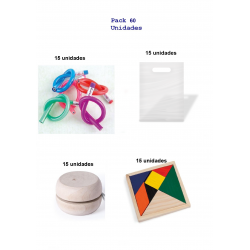 Gift pack birthday 15 set flexible pencils + 15 wooden yoyos + 15 puzzle puzzles.