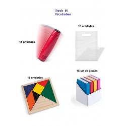 Fabuloso pack regalos infantiles cumpleaños 15 juegos rondux+15puzzles ingenio+15set de gomas forma libro.
