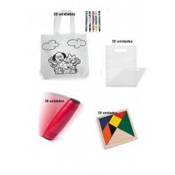 Pack de 30 bolsas  colorear + 30 juego rondux + 30 puzzles ingenio