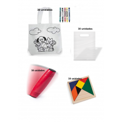Pack of 30 coloring bags + 30 rondux game + 30 ingenuity puzzles