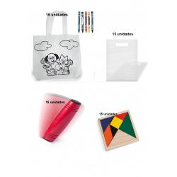 Pack de 15 bolsas  colorear + 15 juego rondux + 15 puzzles ingenio