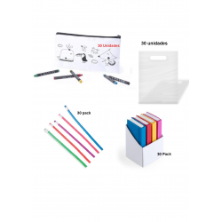 Pack 30 coloring cases + 30 flexible pencils + 30 set rubber bands