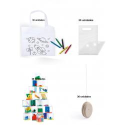 Pack 30 bolsas colorear + 30 juego habilidades + 30 yoyos