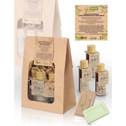 Ecological set of Gél, Shampoo, bodymilk and bar soap with Lemongrass Green Tea.