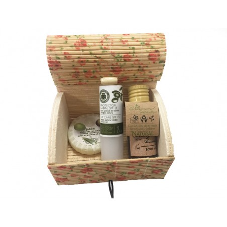 Box with cosmetic of olive oil