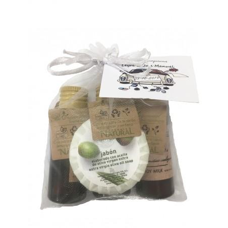 Gel Shampoo Bodymilk and soap miniature with organza bag