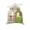 Pack de licor hierbas panizo y  crema de orujo panizo en bolsa de organza
