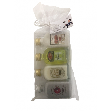 Pack of 24 panizo liqueur miniatures set: Herb Liqueur, Marc Cream, Rice Cream and Caramelorujo in organza bag.