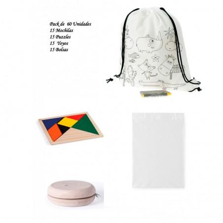 Pack 15 backpacks + 15 yoyos + 15 ingenuity puzzles