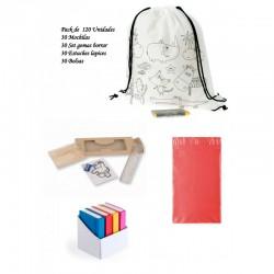 Pack 30 mochilas + 30 estuches + 30 set de gomas + 30 bolsas para presentar los regalos