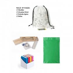 Fabuloso pack de 15 mochilas + 15 estuches + 15 set de gomas para regalar + 15 Bolsas para guardar regalos