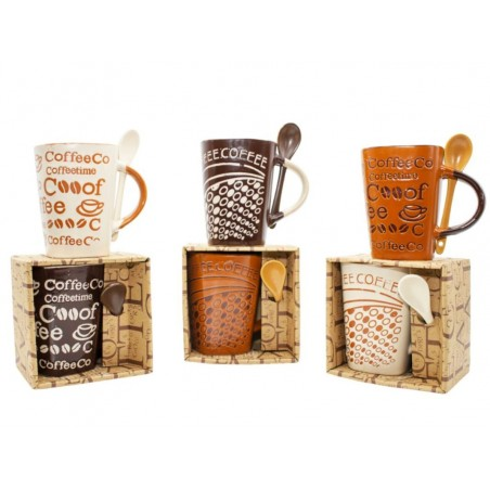 Cups of varied designs for breakfasts.