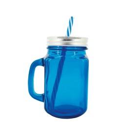 Jarra de cristal azul con pajita a juego para cocteles y granizados.