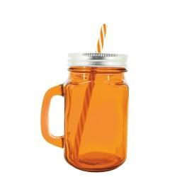 Jarra cócteles naranja con pajita