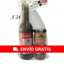 Vino Pata negra con dos tarros paté Deliex para regalos Pack 24 unidades
