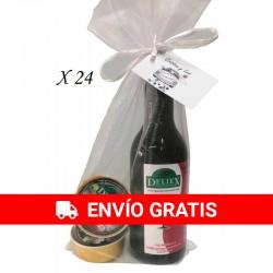 Pack 24 Vino Deliex con dos pates en bolsa de organza