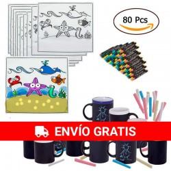 (Amazon) 20 coupes d'ardoise et craies assorties et 20 nappes d'animaux des Maritimes