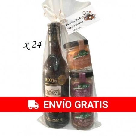 Pack de vino Antaño rioja con surtido de paté para regalos (24ud)