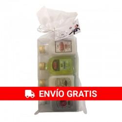 Pack de 24 set de miniaturas licor panizo: Licor Hierba, Crema de Orujo, Crema de Arroz y Caramelorujo en bolsa de organza.
