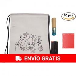 30 Mochilas Animales  y 30 Estuches Azules con lápices y sacapuntas para regalos a niños + 30 Bolsas