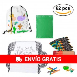 Pack 30 backpacks, 30 wax packs + case + dinosaur rubber egg