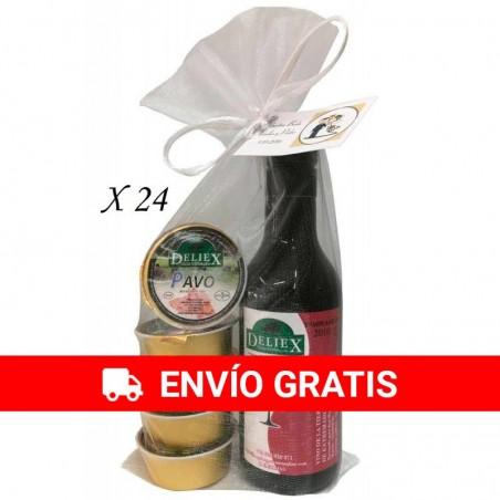 Vino Deliex miniatura con variado de paté en bolsa de organza
