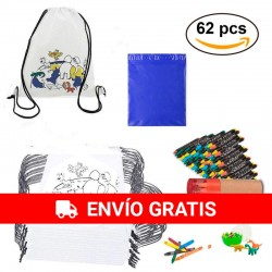 62 Pieces, backpacks, round case and eraser egg.