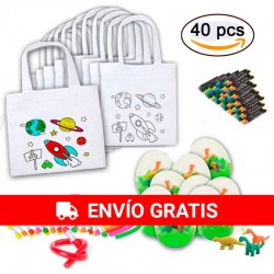 Lot 10 planetary bags with 10 eggs and 10 flexible pencils for children