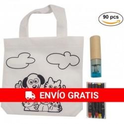 30 Bolsas de infantiles con 4 ceras de colores y 30 Estuches AZUL sacapuntas y 6 lápices para cumpleaños