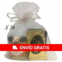 Surtido napolitanas de chocolate con tarrito de miel para regalar (24ud)