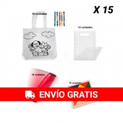 Pack of 15 coloring bags + 15 rondux game + 15 puzzle puzzles