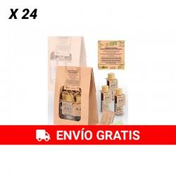 Set écologique (pack de 24 unités) Gel, shampoing, lait corporel et barre de savon au thé vert citronnelle et verveine.