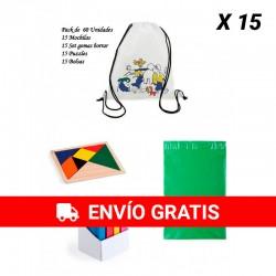 Lote 15 Mochilas infantiles colorear + 15 Puzzles ingenio + 15 Set gomas de borrar con bolsas para guardar regalos