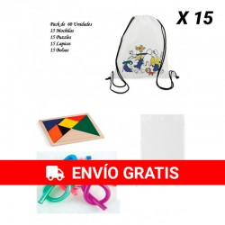 Pack 15 Backpacks + 15 Puzzles wit + 15 flexible pencils