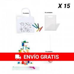 Pack 15 sacs à colorier + 15 compétences de jeu + 15 yoyos