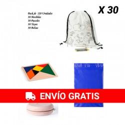 Pack 30 mochilas + 30 yoyos + 30 puzzles ingenio + 30 bolsas para guardar regalos