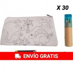 30 Estuches Dinosaurios con 30 pack de 4 ceras y 30 Estuches Redondos con lápices de colores y sacapuntas