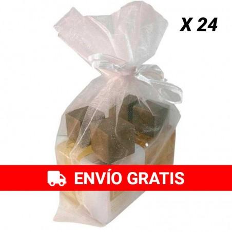 Organza sac avec gel du bain, shampoing, créme pour le corp et eau de cologne pour événement