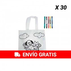 Pack of 30 children's bags coloring with wax