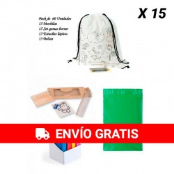 Pack 15 mochilas + 15 estuches + 15 set de gomas + 15 bolsas para guardar regalos