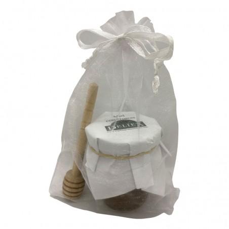 Pack tarro de miel con nueces y palito catador