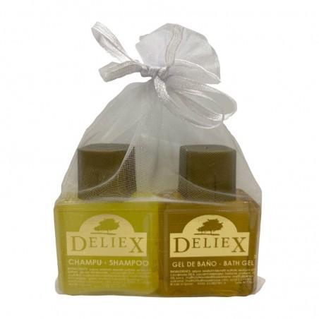 Set du shampoing, gel douche et sac d'organza pour offrir.